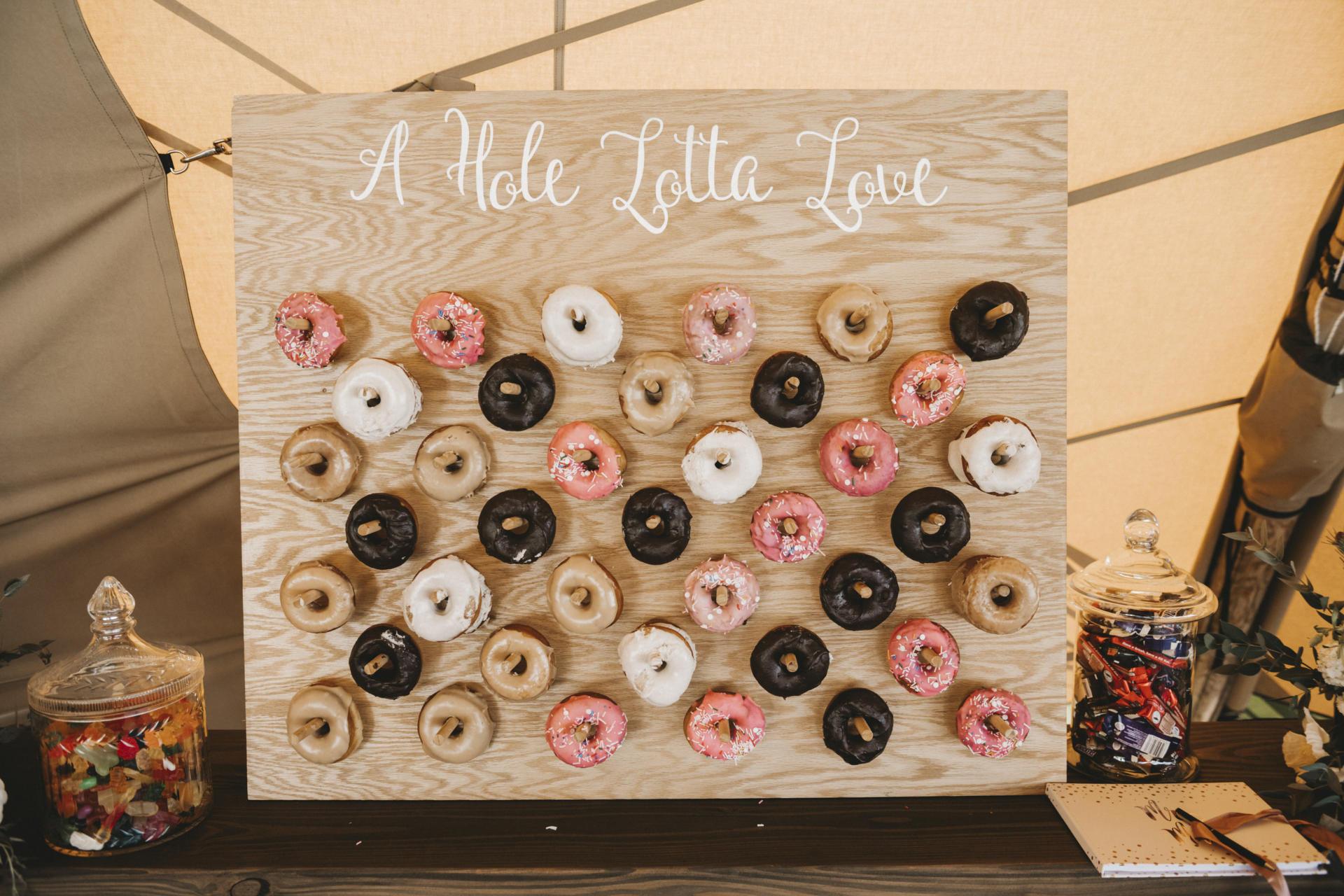 Wanaka Wedding styled doughnut wall